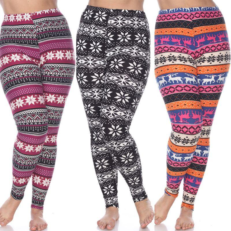 Women's Plus Size Everyday Leggings by Whitemark - 3 Pack-Black/White, Orange/Fuchsia, Burgundy-Daily Steals