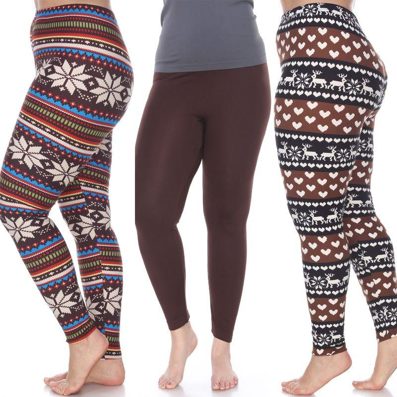 Women's Plus Size Everyday Leggings by Whitemark - 3 Pack-Brown, Brown/White, Brown/Multi-Daily Steals