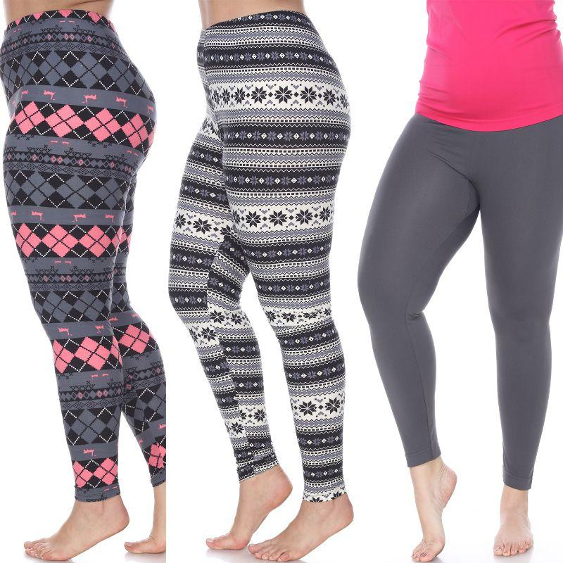 Women's Plus Size Everyday Leggings by Whitemark - 3 Pack-Charcoal, Grey/Pink Argyle, Black/Grey-Daily Steals