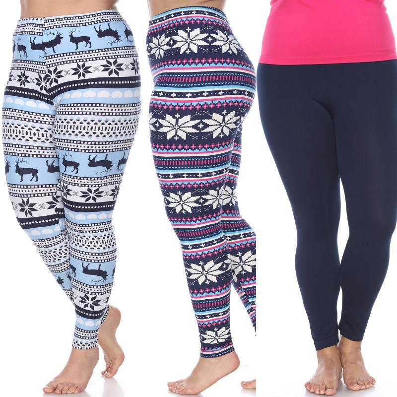 Women's Plus Size Everyday Leggings by Whitemark - 3 Pack-Navy, Blue/White, Navy/Fuchsia-Daily Steals