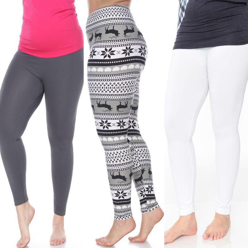 Women's Plus Size Everyday Leggings by Whitemark - 3 Pack-White, Chacoal, Grey/White-Daily Steals