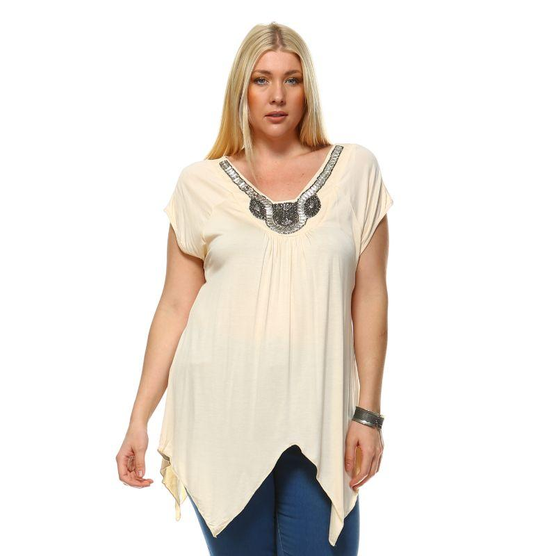 Women's Plus Size Fenella Tunic Top by Whitemark-Beige-1X-Daily Steals