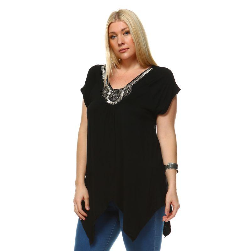 Women's Plus Size Fenella Tunic Top by Whitemark-Black-2X-Daily Steals