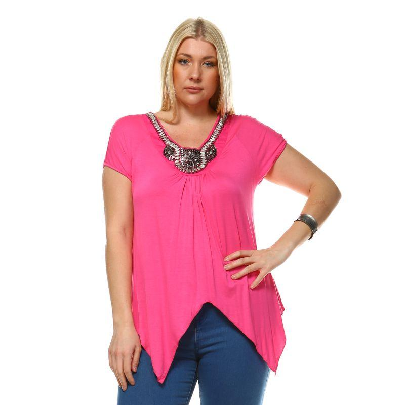 Women's Plus Size Fenella Tunic Top by Whitemark-Fuchsia-3X-Daily Steals
