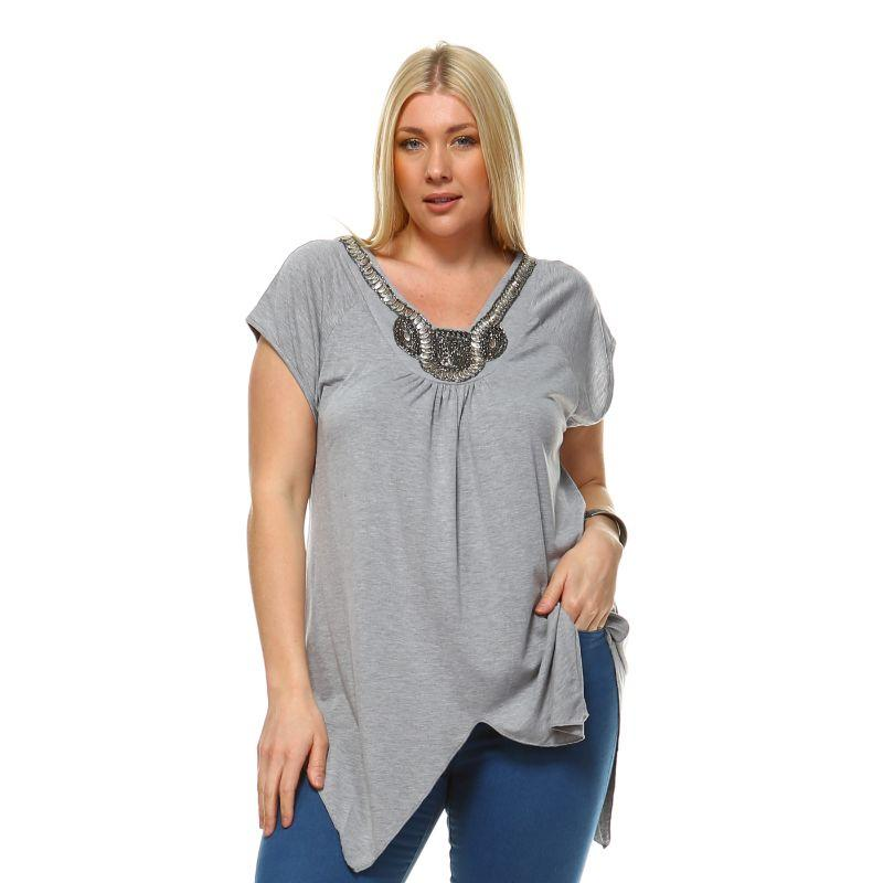 Women's Plus Size Fenella Tunic Top by Whitemark-Gray-1X-Daily Steals