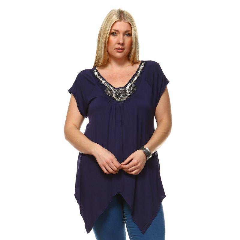 Women's Plus Size Fenella Tunic Top by Whitemark-Navy-3X-Daily Steals