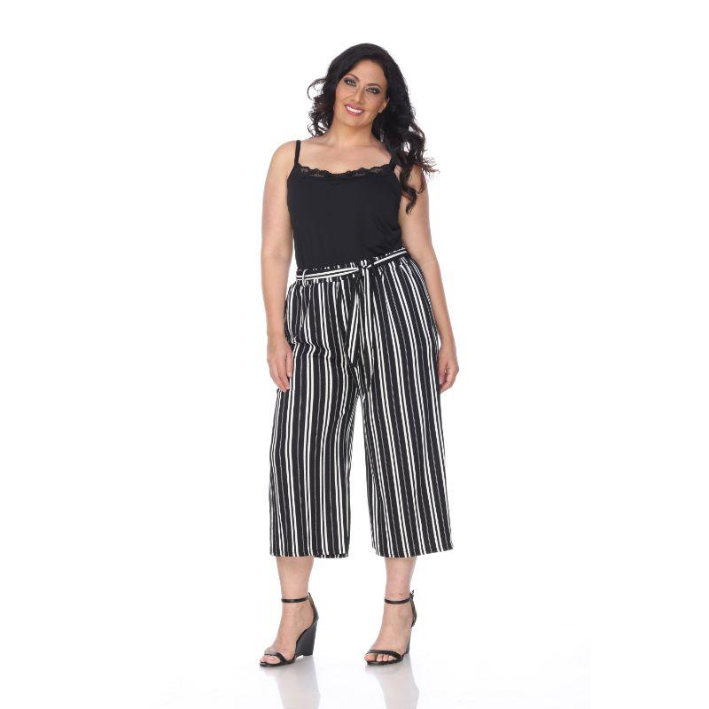 Women's Plus Size Gaucho Pants by Whitemark-Black White-2XL-Daily Steals