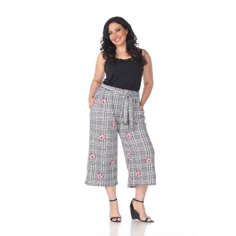 Women's Plus Size Gaucho Pants by Whitemark-Red Flower-1XL-Daily Steals