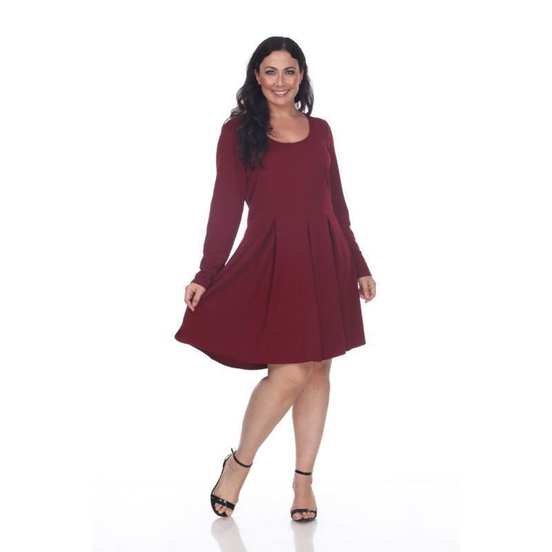 Women's Plus Size Jenara Dress by Whitemark-Burgundy-3X-Daily Steals