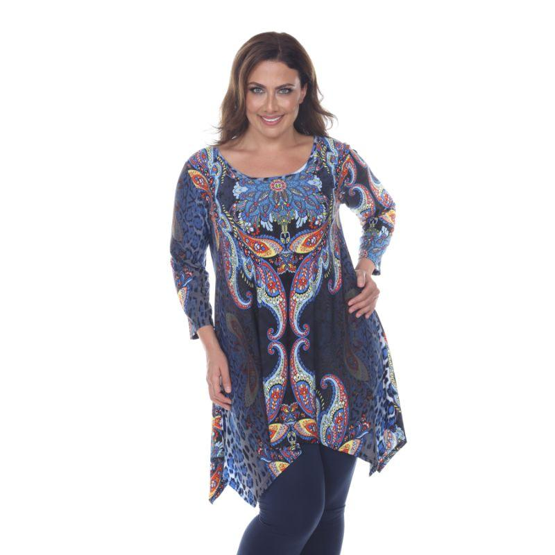 Women's Plus Size Marlene Top Tunic By Whhitemark-Blue Multi-1X-Daily Steals