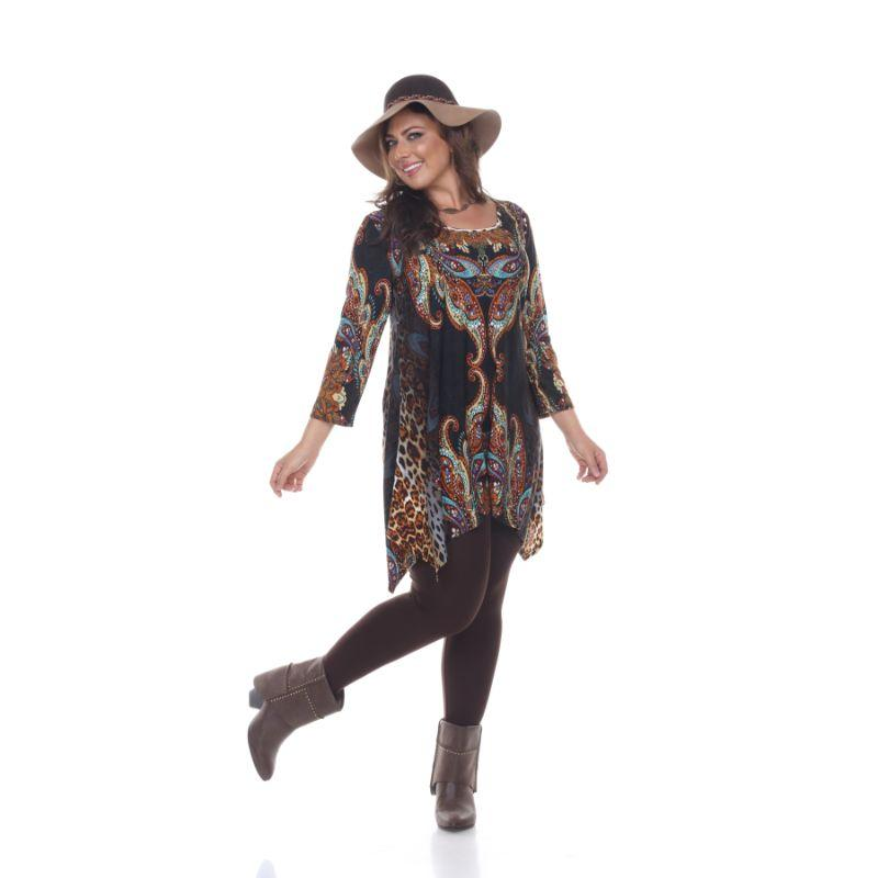 Women's Plus Size Marlene Top Tunic By Whhitemark-Brown Multi-1X-Daily Steals
