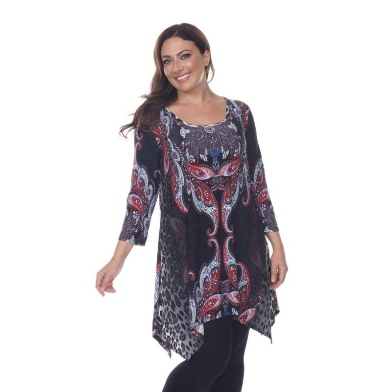 Women's Plus Size Marlene Top Tunic By Whhitemark-Gray Multi-3X-Daily Steals