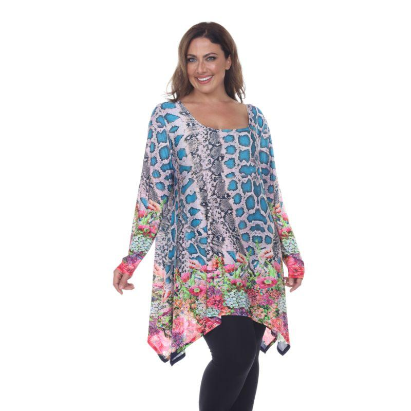 Women's Plus Size Marlene Top Tunic By Whhitemark-Teal/Pink-2X-Daily Steals