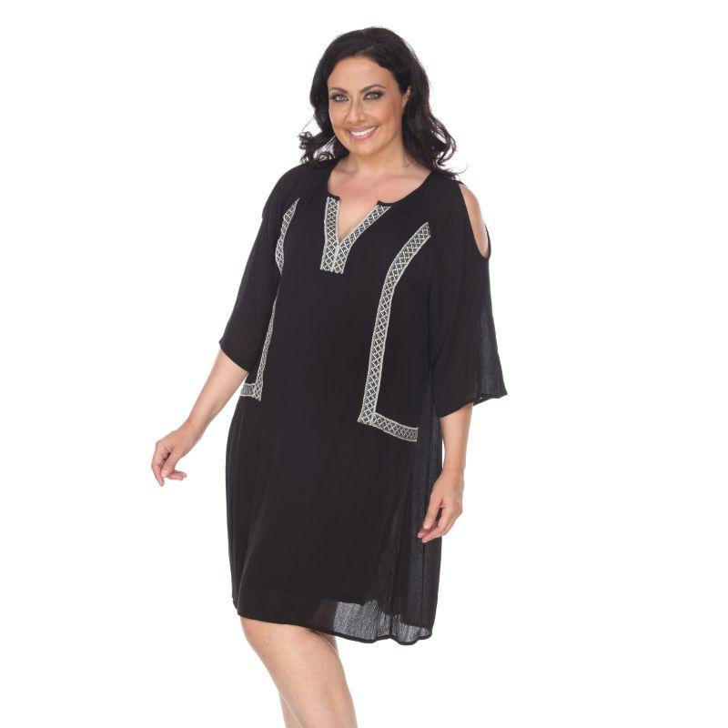 Women's Plus Size Marybeth Embroidered Dress by Whitemark-Black-2XL-Daily Steals