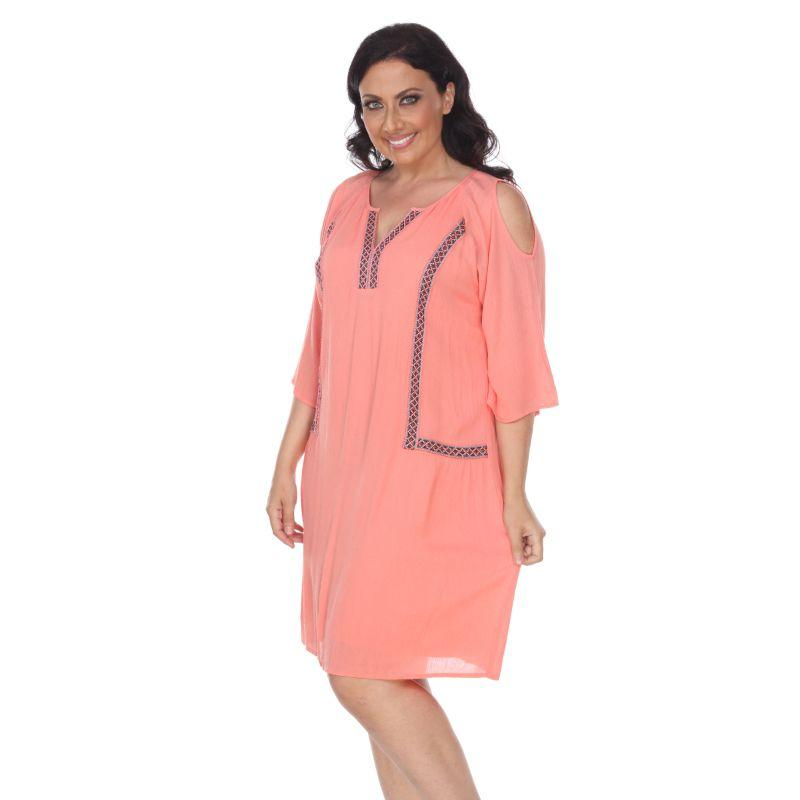 Women's Plus Size Marybeth Embroidered Dress by Whitemark-Coral-1XL-Daily Steals