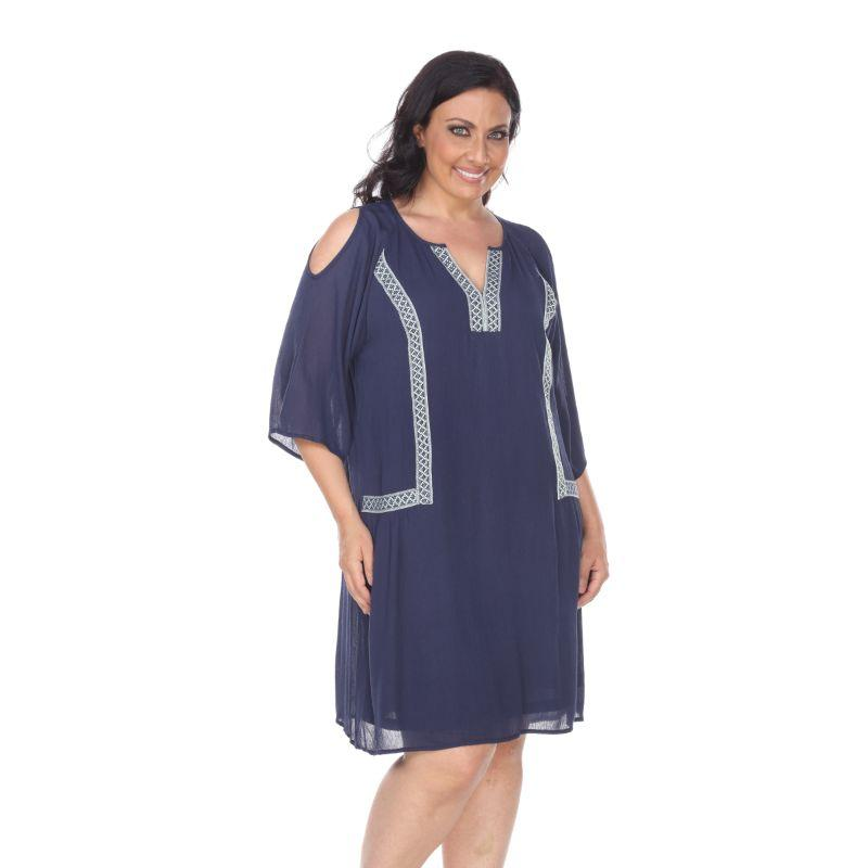 Women's Plus Size Marybeth Embroidered Dress by Whitemark-Navy-4XL-Daily Steals
