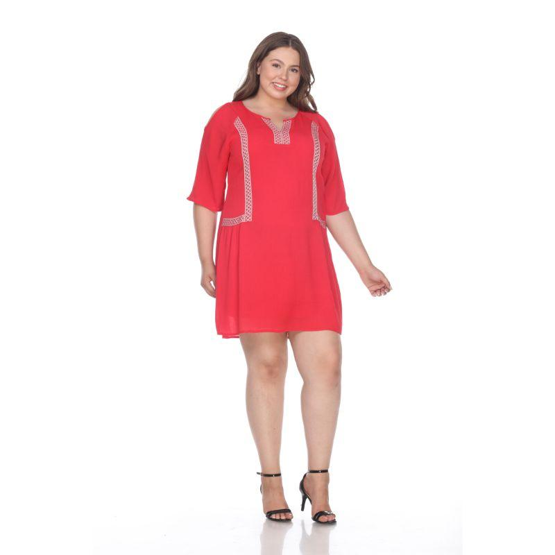 Women's Plus Size Marybeth Embroidered Dress by Whitemark-Red-1XL-Daily Steals