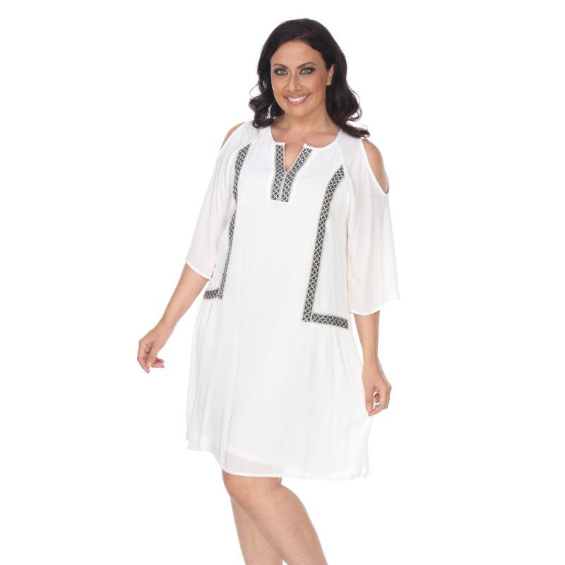 Women's Plus Size Marybeth Embroidered Dress by Whitemark-White-2XL-Daily Steals