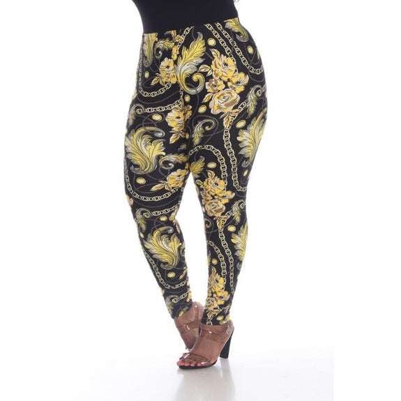 Women's Plus Size One Fits Most Printed Leggings by Whitemark-Black/Gold-Daily Steals