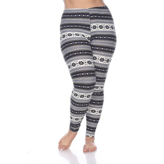 Women's Plus Size One Fits Most Printed Leggings by Whitemark-Black/Grey-Daily Steals