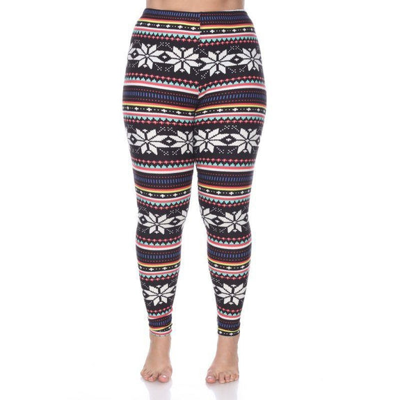 Women's Plus Size One Fits Most Printed Leggings by Whitemark-Black/Multi-Daily Steals
