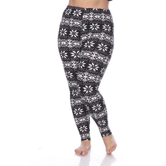 Women's Plus Size One Fits Most Printed Leggings by Whitemark-Black/White-Daily Steals