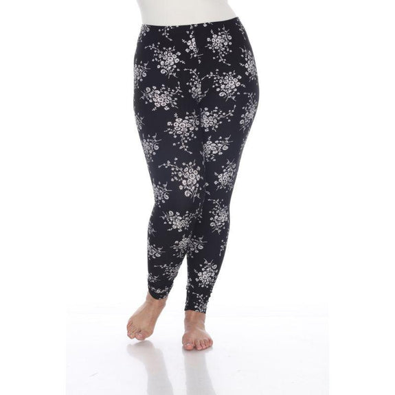 Women's Plus Size One Fits Most Printed Leggings by Whitemark-Black/White Daisey-Daily Steals