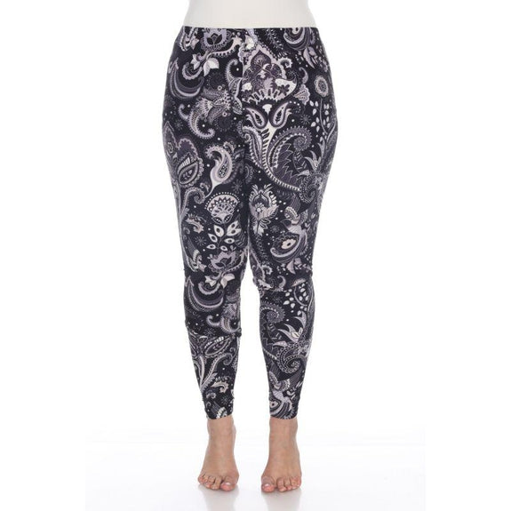 Women's Plus Size One Fits Most Printed Leggings by Whitemark-Black/White Pailsey-Daily Steals