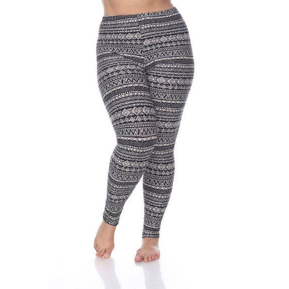 Women's Plus Size One Fits Most Printed Leggings by Whitemark-Black/White/Grey-Daily Steals