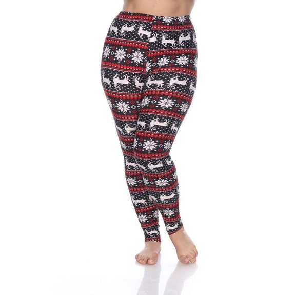 Women's Plus Size One Fits Most Printed Leggings by Whitemark-Blk/Wht/Red-Daily Steals