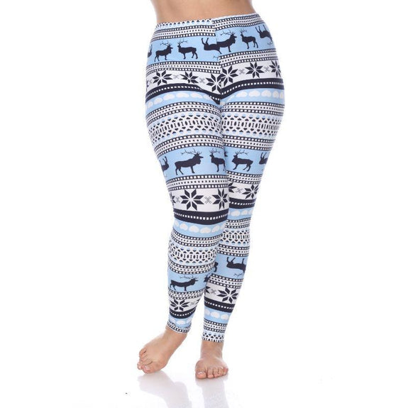 Women's Plus Size One Fits Most Printed Leggings by Whitemark-Blue/White-Daily Steals
