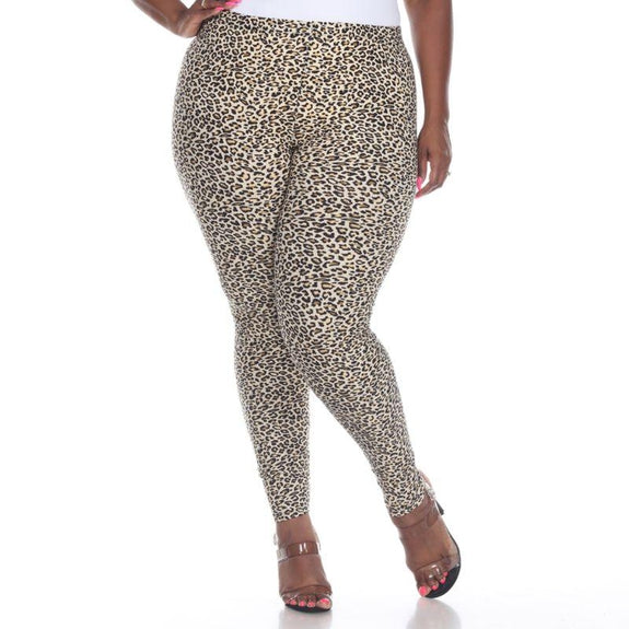 Women's Plus Size One Fits Most Printed Leggings by Whitemark-Brown Cheetah-Daily Steals