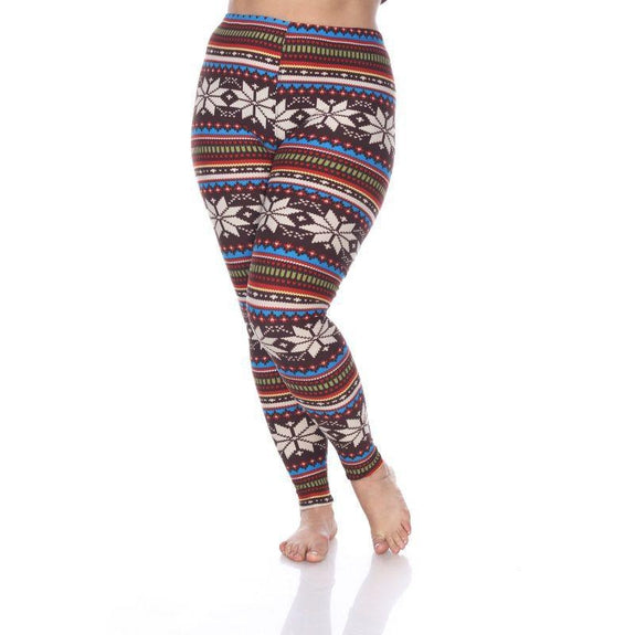 Women's Plus Size One Fits Most Printed Leggings by Whitemark-Brown/Multi-Daily Steals