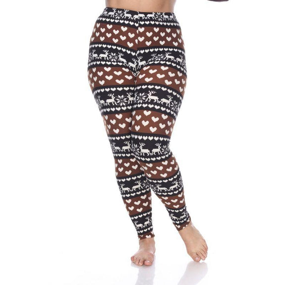 Women's Plus Size One Fits Most Printed Leggings by Whitemark-Brown/White-Daily Steals
