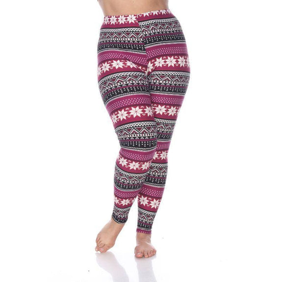 Women's Plus Size One Fits Most Printed Leggings by Whitemark-Burgundy-Daily Steals