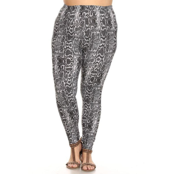 Women's Plus Size One Fits Most Printed Leggings by Whitemark-Grey Snake-Daily Steals