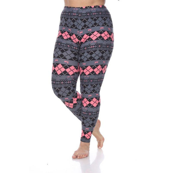 Women's Plus Size One Fits Most Printed Leggings by Whitemark-Grey/Pink Argyle-Daily Steals