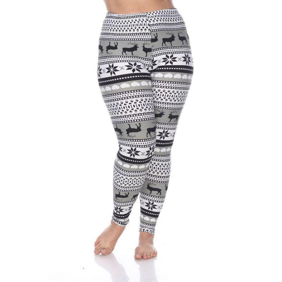 Women's Plus Size One Fits Most Printed Leggings by Whitemark-Grey/White-Daily Steals