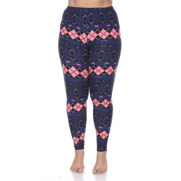 Women's Plus Size One Fits Most Printed Leggings by Whitemark-Navy /Pink Argyle-Daily Steals
