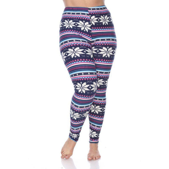 Women's Plus Size One Fits Most Printed Leggings by Whitemark-Navy/Fuchsia-Daily Steals