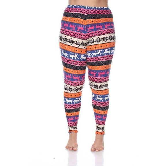 Women's Plus Size One Fits Most Printed Leggings by Whitemark-Orange/Fuchsia-Daily Steals