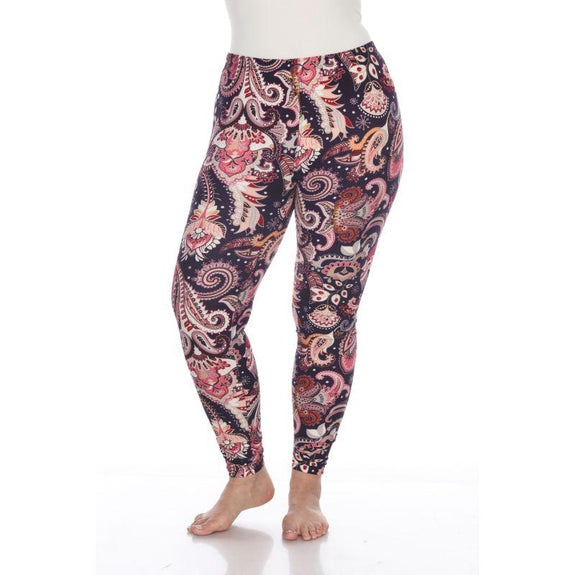 Women's Plus Size One Fits Most Printed Leggings by Whitemark-Purple/Fuchsia Paisley-Daily Steals