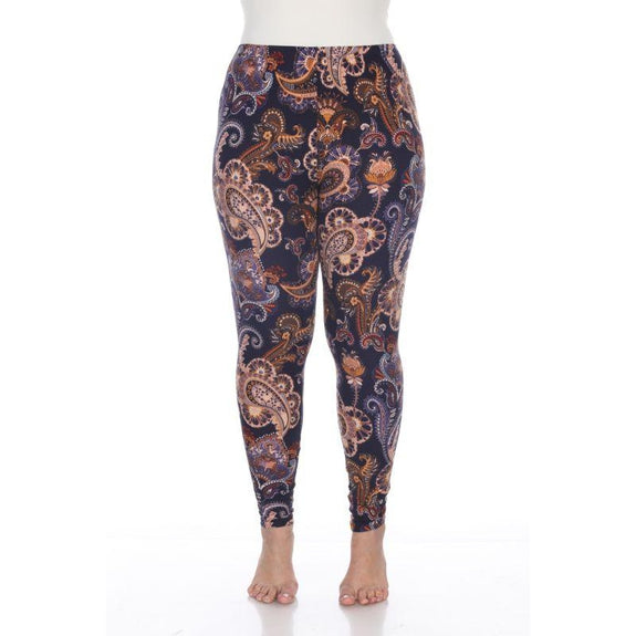 Women's Plus Size One Fits Most Printed Leggings by Whitemark-Purple/Gold Paisley-Daily Steals