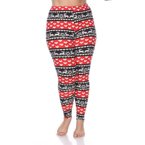 Women's Plus Size One Fits Most Printed Leggings by Whitemark-Red/White-Daily Steals