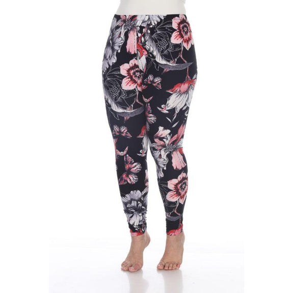 Women's Plus Size One Fits Most Printed Leggings by Whitemark-White/Coral/Black-Daily Steals