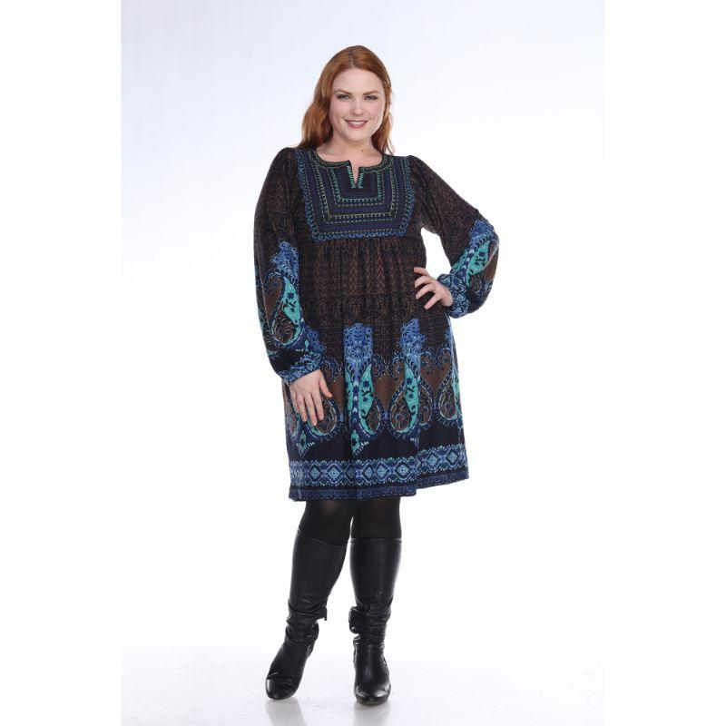 Women's Plus Size Phebe Embroidered Sweater Dress by Whitemark-Blue-3X-Daily Steals
