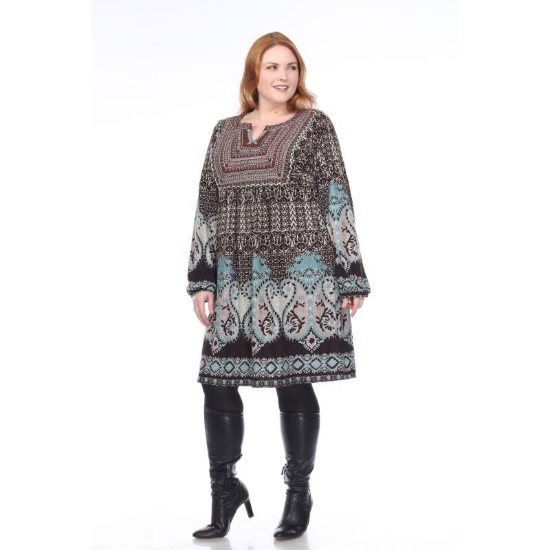 Women's Plus Size Phebe Embroidered Sweater Dress by Whitemark-Brown-1X-Daily Steals