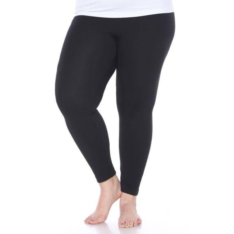 Women's Plus Size Super-Stretch Solid Leggings by Whitemark-Black-Daily Steals