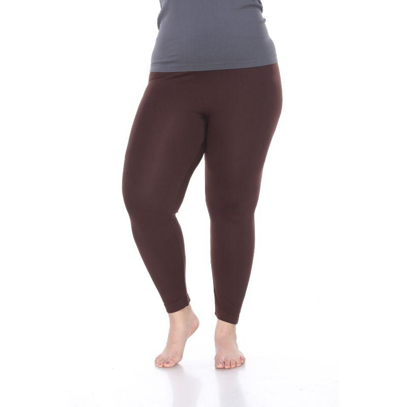 Women's Plus Size Super-Stretch Solid Leggings by Whitemark-Brown-Daily Steals