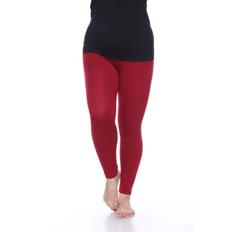 Women's Plus Size Super-Stretch Solid Leggings by Whitemark-Burgundy-Daily Steals